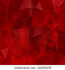 vector polygonal background with irregular tessellations pattern - triangular design in valentine day colors - glowing dark red