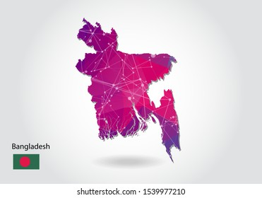 Vector polygonal bangladesh map. Low poly design. map made of triangles on white background. geometric rumpled triangular low poly style gradient graphic, line dots, UI design.