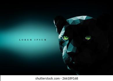 Vector polygonal black panther