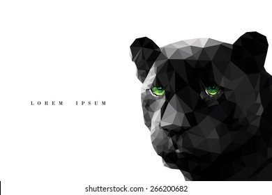 Vector polygonal black panther on white background