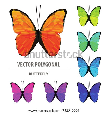 1b2c1900fc0f Vector polygonal butterfly isolated on white. Low poly insect illustration.  Triangle color animal image