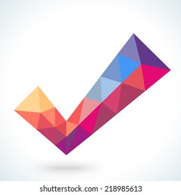 Vector  polygonal crystal check mark or tick with shadow. Confirmation acceptance positive passed voting agreement true or completion of tasks on a list. Web design element