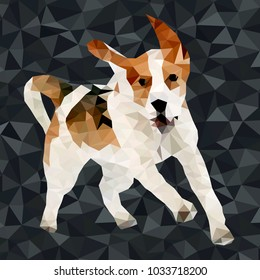 Vector polygonal dogs silhouettes. Set of poly dog play and have fun outdoors
