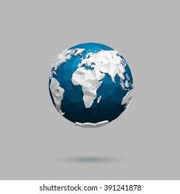 Vector polygonal globe icon.