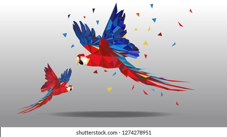 Vector polygonal illustration of animal. Origami style outline geometric colorful macaw parrot`s