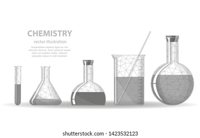 Vector polygonal illustration of a chemical glassware, on a white background, chemistry science symbol.