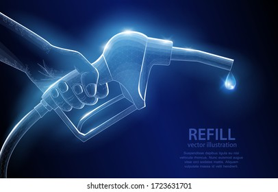 Vector polygonal illustration concept, refueling gun in hand, on dark blue background, symbol of fossil fuel, waste of non-renewable resources.