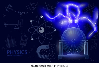 Vector polygonal illustration concept of science physics, on dark background