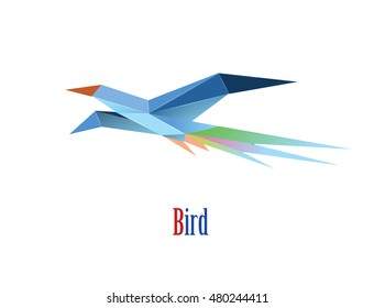 Vector polygonal illustration of flying bird, modern origami style icon, low poly bird isolated object, white background