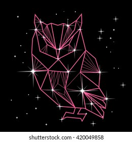 Vector polygonal illustration with geometric owl with stars in constellation. Origami style.