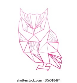 Vector polygonal illustration with geometric owl with gradient. Origami style.