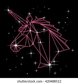 Vector polygonal illustration with geometric unicorn head with stars in constellation. Origami style.