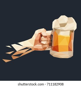 Vector polygonal illustration of hand with glass of beer.
