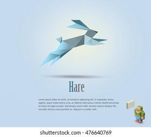 Vector polygonal illustration of hare, rabbit icon, modern art, isometric man character