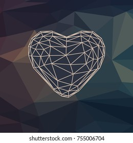 Vector polygonal illustration of heart. Wire style of shape and geometric pattern on background