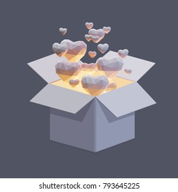 Vector polygonal illustration of hearts flying out from gift box.