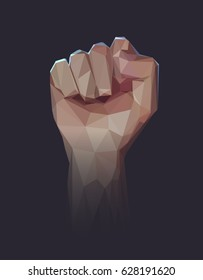 Vector polygonal illustration of raised up clenched male fist. Symbol of demonstration, revolution, protest, resistance and  freedom.