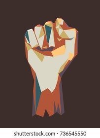 Vector polygonal illustration of raised up clenched male fist. Symbol of demonstration, revolution, protest, resistance and  freedom. WPOP style