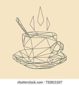 Vector polygonal illustration of steaming coffee cup.