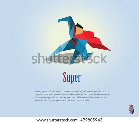 Vector Polygonal Illustration Super Hero Origami Stock Vector