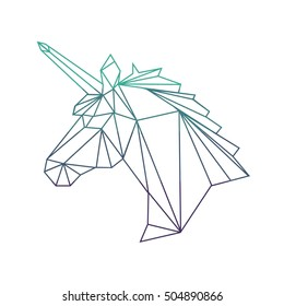 Vector polygonal illustration of unicorn with gradient. Origami style.