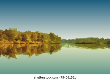 Vector polygonal landscape illustration. Abstract forest and lake panorama.