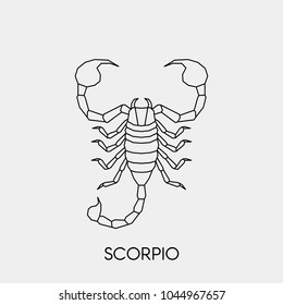 Vector. Polygonal linear scorpion. Geometric abstract zodiac sign is scorpius.