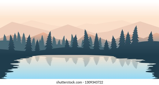 Vector polygonal minimalist landscape