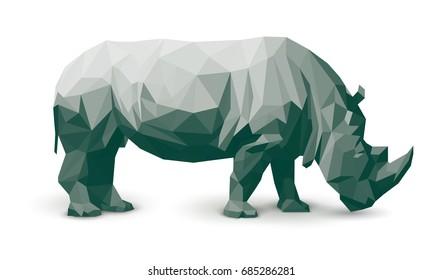Vector polygonal rhinoceros illustration. Geometric animal illustration art.