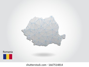 Vector polygonal Romania map. Low poly design. map made of triangles on white background. geometric rumpled triangular low poly style gradient graphic, line dots, UI design.