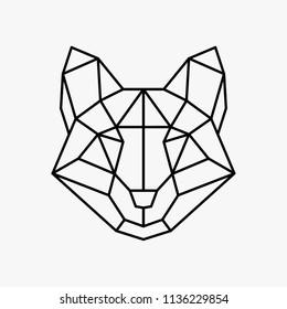Vector polygonal triangular illustration of animal head. Origami style outline geometric fox