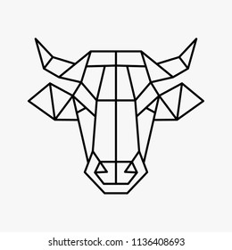 Vector polygonal triangular illustration of animal head. Origami style outline geometric cow
