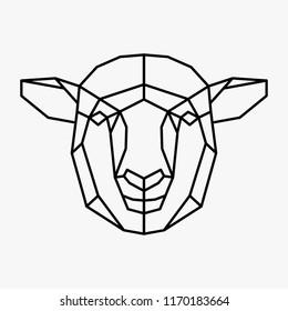 Vector polygonal triangular illustration of animal head. Origami style outline geometric sheep