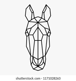 Vector polygonal triangular illustration of animal head. Origami style outline geometric horse