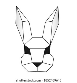 Vector polygonal triangular illustration of animal head. Origami style outline geometric rabbit. Contour for tattoo, logo, emblem and design element.