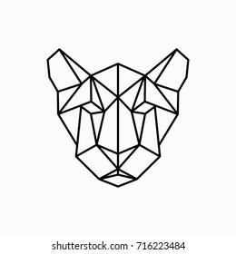 Vector polygonal triangular illustration of animal head. Origami style outline geometric puma