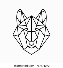 Vector polygonal triangular illustration of animal head. Origami style outline geometric wolf