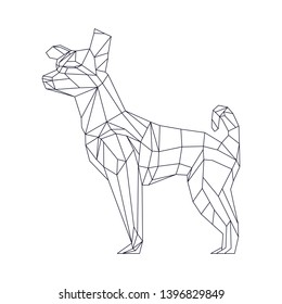 Vector polygonal triangular illustration of a dog on a white background