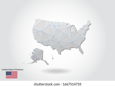 Vector polygonal United States map. Low poly design. map made of triangles on white background. geometric rumpled triangular low poly style gradient graphic, line dots, UI design.