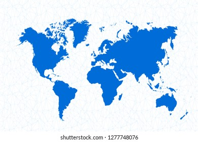 Vector polygonal world map background.  Low poly art