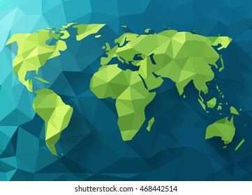 Vector polygonal world map. Low poly design. Origami planet illustration. Conceptual world map synthesis.