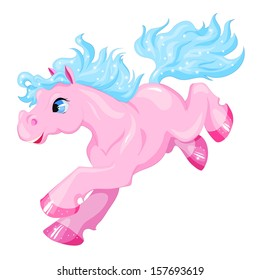 Vector pony. Little fantasy pink horse with pink hair. Cute character. Child illustration Isolated