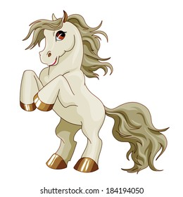 Vector pony. Little gray baby horse with gray hair. Cute character. Child illustration Isolated