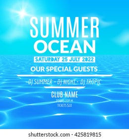 Vector pool or ocean water party. Summer beach vacation poster or flyer design template.