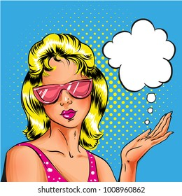 Vector pop art blond young woman in pink sunglasses, speech bubble. Pin-up girl portrait retro comic book illustration.