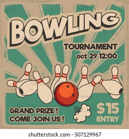 Vector pop art bowling illustration on a vintage background. Bowling strike. Retro tournament poster design concept.