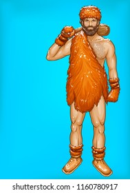 Vector pop art caveman in fur loincloth, footwear and mittens with wooden club isolated on blue background. Winter, ice age concept with strong male character. Illustration for ad poster, promo banner