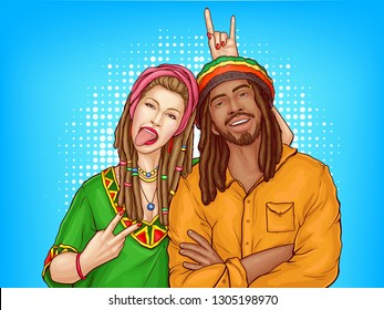 Vector pop art characters - a couple of smiling rasta guy with dreadlocks and woman in the green shirt. Man in orange jacket with sexy girl isolated on blue dotted background. Cute young people.