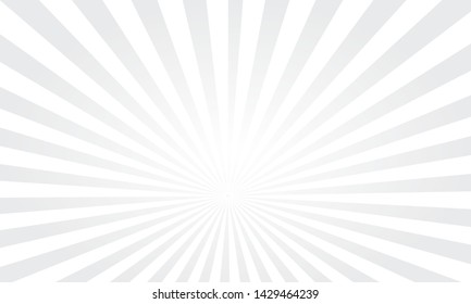Vector pop art colorful rays background. White rays on a grey background