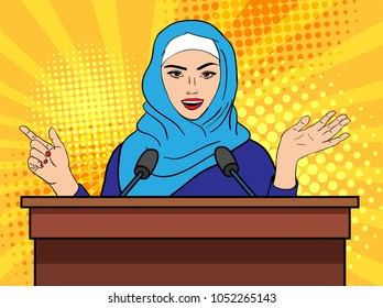 Vector pop art comic retro style illustration of muslim beautiful woman in hijab giving speech for a big audience. Concept of widening the civil and social rights of muslim women